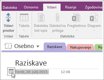 Posnetek zaslona, kako spremenite datumski žig na strani v programu OneNote 2016.
