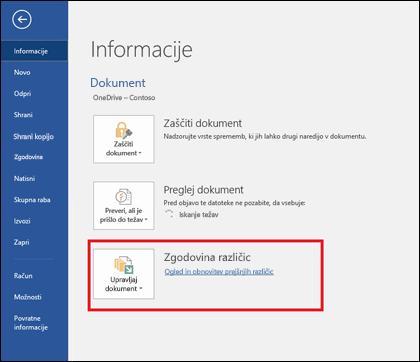Z gumbom za upravljanje različic lahko obnovite prejšnje različice dokumenta