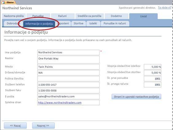 Zavihek »Informacije o podjetju« predloge za zbirko podatkov storitev