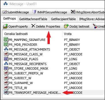 Če želite izbrisati lastnost PR_TRANSPORT_MESSAGE_HEADERS, uporabite OutlookSpy.
