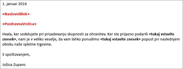Vzorčno pismo spajanja dokumentov v Wordu s prikazom polj »naslov« in »pozdravna vrstica«.