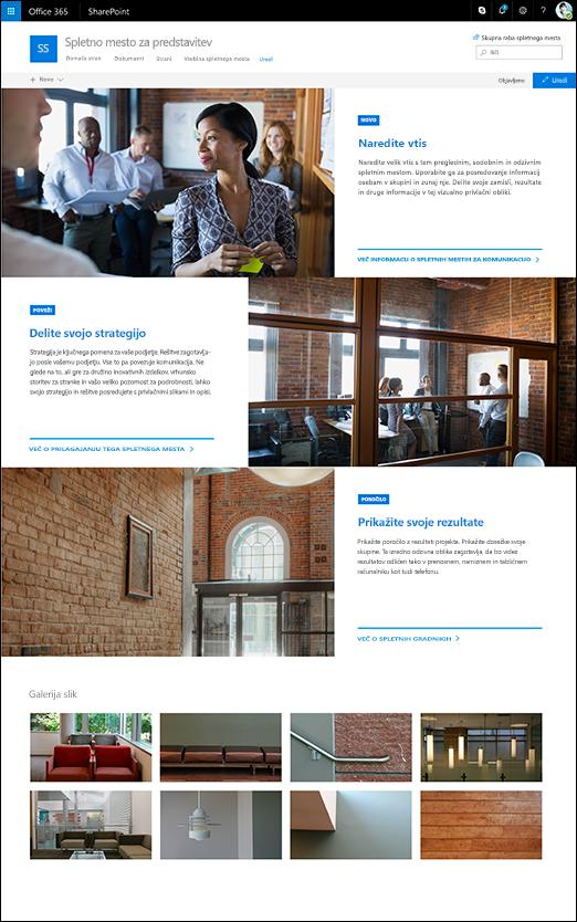 Načrt predstavitve na SharePointovem mestu za komunikacijo