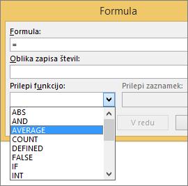Na zavihku »Orodja za tabele – Postavitev« so prikazane funkcije lepljenja formule.