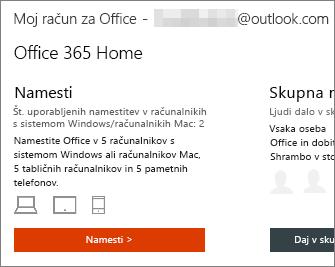 Za pakete storitve Office 365 na domači strani »Račun za »Moj Office«« izberite »Namesti«