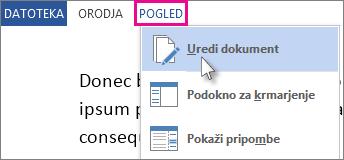 Slika dela menija »Ogled« v načinu za branje z izbrano možnostjo »Uredi dokument«.