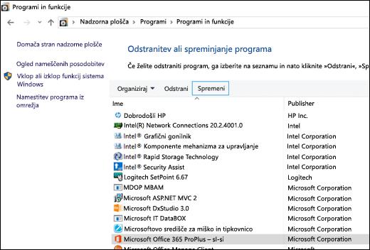 Kliknite »Spremeni« v programčku »Odstranitev programov«, da začnete popravilo sistema Microsoft Office