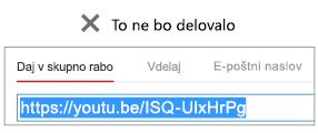 Če se koda začne s »http«, se videoposnetek ne bo uspešno vdelal.