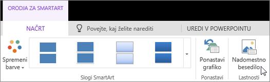 Posnetek zaslona, na katerem je prikazan zavihek »Orodja za SmartArt – Načrt« s kazalcem, ki kaže na možnost »Nadomestno besedilo«.