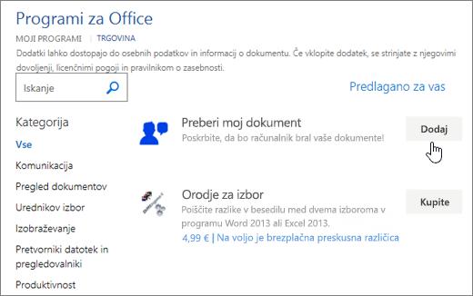 Posnetek zaslona strani Office v trgovini, kjer lahko izberete ali poiščite program za Word.