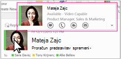 Outlookove Skype za podjetja hitri meni