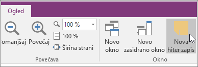 Posnetek zaslona gumba «Nova hitra beležka« v programu OneNote 2016.