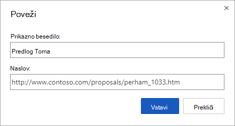 Vstavljanje hiperpovezave do spletnega naslova