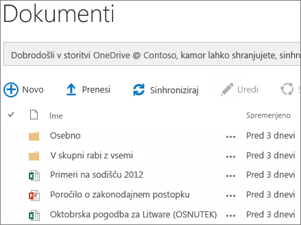 Glejte »Dokumenti v storitvi OneDrive za podjetja«