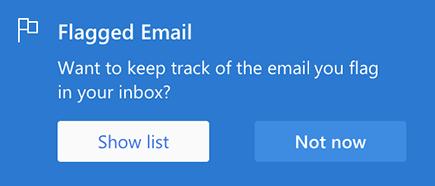 Možnost za omogočanje označenega e-poštnega sporočila tako, da izberete Pokaži seznam ali ne zdaj