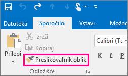 Prikaže gumb »Preslikovalnik oblik« v novem sporočilu v Outlooku