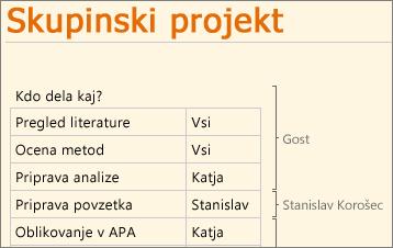 Več avtorjev dela v programu OneNote Web App
