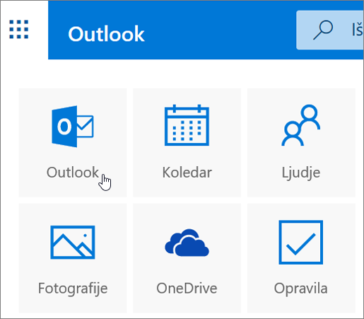 Posnetek zaslona prikazuje izbrano ploščico »Outlook«.