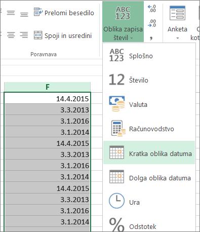 spremenite datum v kratko obliko datuma na traku