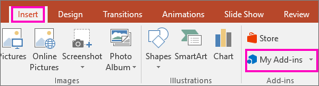 Prikaže »Vstavljanje« > »Moji dodatki« na traku v PowerPointu