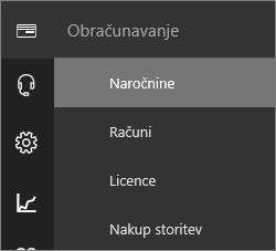 Posnetek zaslona menija »Obračunavanje« v novem Skrbniškem središču za Office 365 z izbrano naročnino.