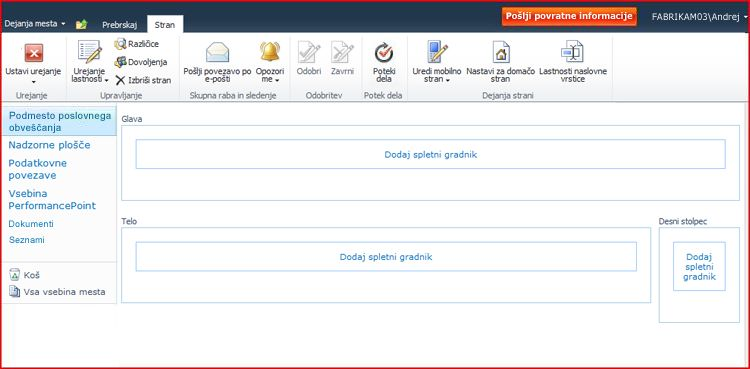Stran spletnega gradnika vključuje območja za dodajanje spletnih gradnikov