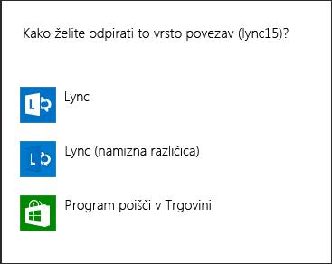Posnetek zaslona Lyncovega obvestila za izbor programa