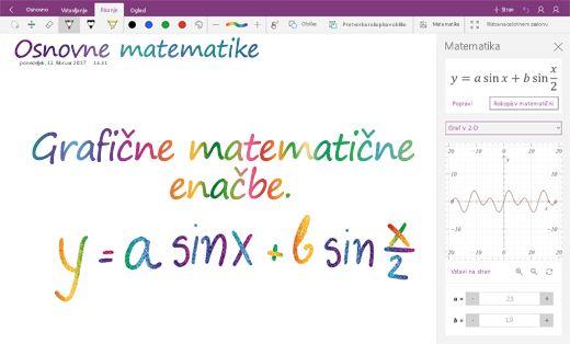 Risanje matematičnih enačb v OneNotu za Windows 10