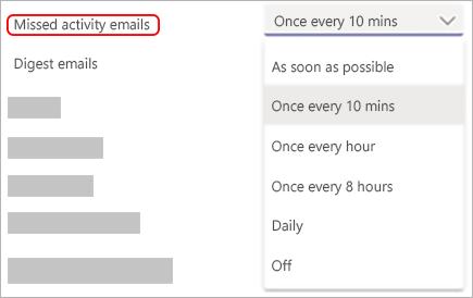 Slika nastavitev e-poštnih obvestil v teams in menija za izbiro, kako pogosto je poslana e-pošta.
