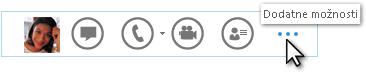 Posnetek zaslona menija »Hitri Lync«, ki prikazuje »Več možnosti«