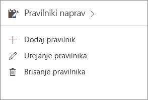 Kartica »Pravilniki naprav« v skrbniškem središču.
