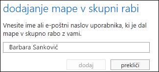 Pogovorno okno za dodajanje mape v skupni rabi v programu Outlook Web App