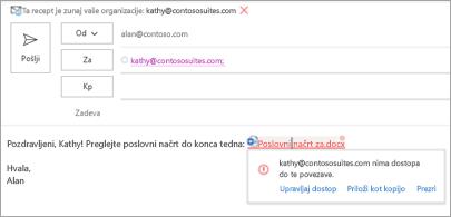 Prikazuje prijazna imena povezav za priložene dokumente