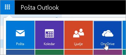 Posnetek zaslona OneDrive ploščic v Zaganjalniku programov.