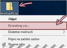 Z desno tipko miške kliknite stisnjeno datoteko zip, da ekstrahirate datoteko iz nje.