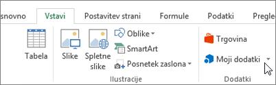 Posnetek zaslona odseka na zavihku »Vstavljanje« na Excelovem traku s kazalcem, ki kaže na moje Add-ins izberite moji dodatki za dostop do dodatkov za Excel.