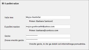 Vnesite e-poštni naslov in geslo