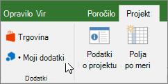 Posnetek zaslona odseka »projekt« na traku s kazalcem, ki kaže na v moji dodatki spustnega menija. Izberite svoj dodatkov in izberite nedavno uporabljenih dodatka za upravljanje vseh dodatkov in pojdite v trgovini Office za nove dodatke.