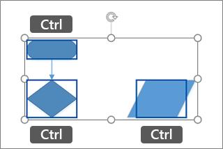 Izbiranje več oblik s tipko Ctrl in klikom