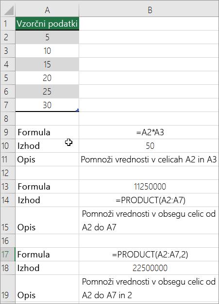 Množenje števil s funkcijo PRODUCT