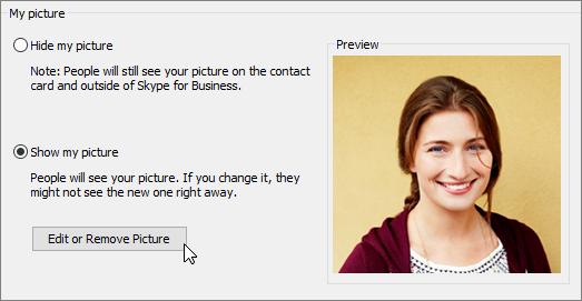 »Uredi sliko« na strani »O meni« v storitvi Office 365