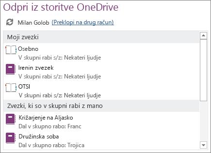 Posnetek zaslona območja »Odpri v storitvi OneDrive« na strani »Odpri« v pogledu »Backstage«.