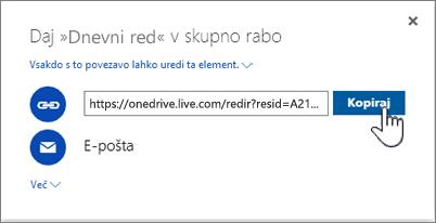 Posnetek zaslona, na katerem je prikazana možnost »Pridobi povezavo« v pogovornem oknu »Skupna raba« v storitvi OneDrive