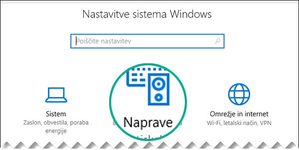 Izberite naprave v pogovornem oknu »Nastavitve sistema Windows«