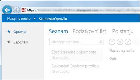 Spletni program Access, ki prikazuje tabele ob levem robu in »Izbirnik pogledov« na vrhu.