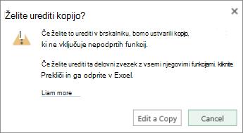 Urejanje kopije sporočila