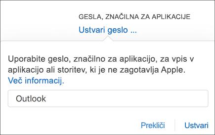 Vnesite ime za geslo za aplikacijo.
