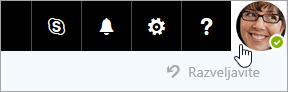 Posnetek zaslona s sliko računa v menijski vrstici storitve Office 365.