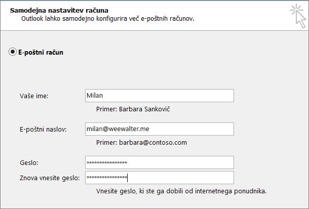 Vnesite geslo za program v obe polji za geslo.