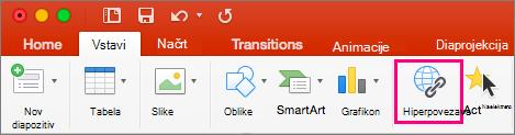 Pokaže zavihek »Vstavljanje« v programu PowerPoint 2016 za Mac