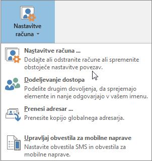 Možnosti, ki so na voljo, če nastavitve računa konfigurirate v Outlooku
